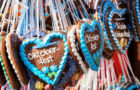 typical souvenir at the oktoberfest in munich - a gingerbread heart - lebkuchenherz